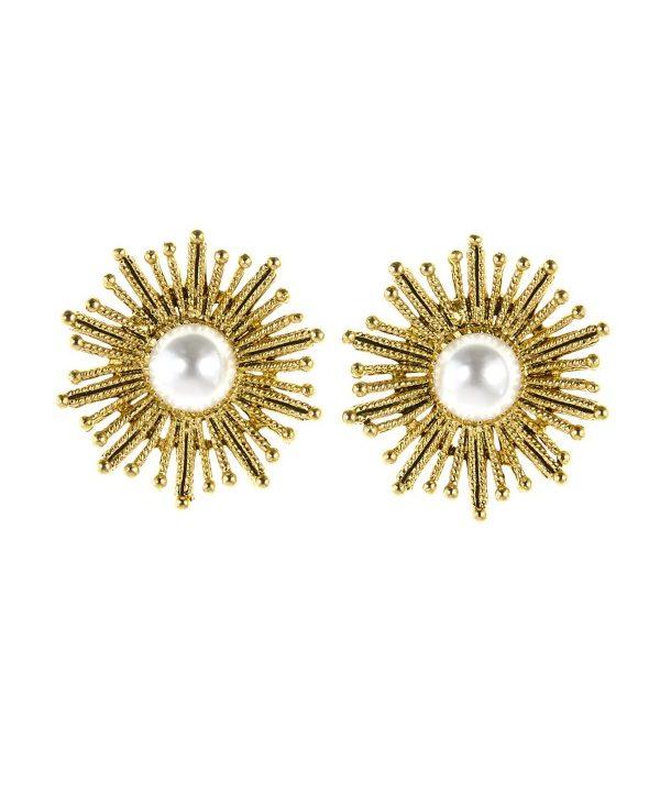 Oscar de la Renta Pearl Sun Star Earrings