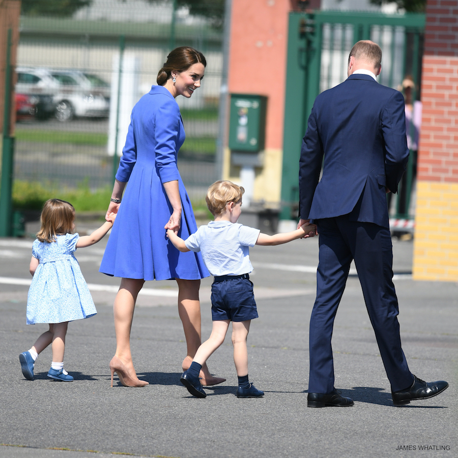 The Duke and Duchess of Cambridge, Prince George and Princess Charlotte arrive at Berlin airport at the start of their three day visit to Germany, on the 19th July 2017.
