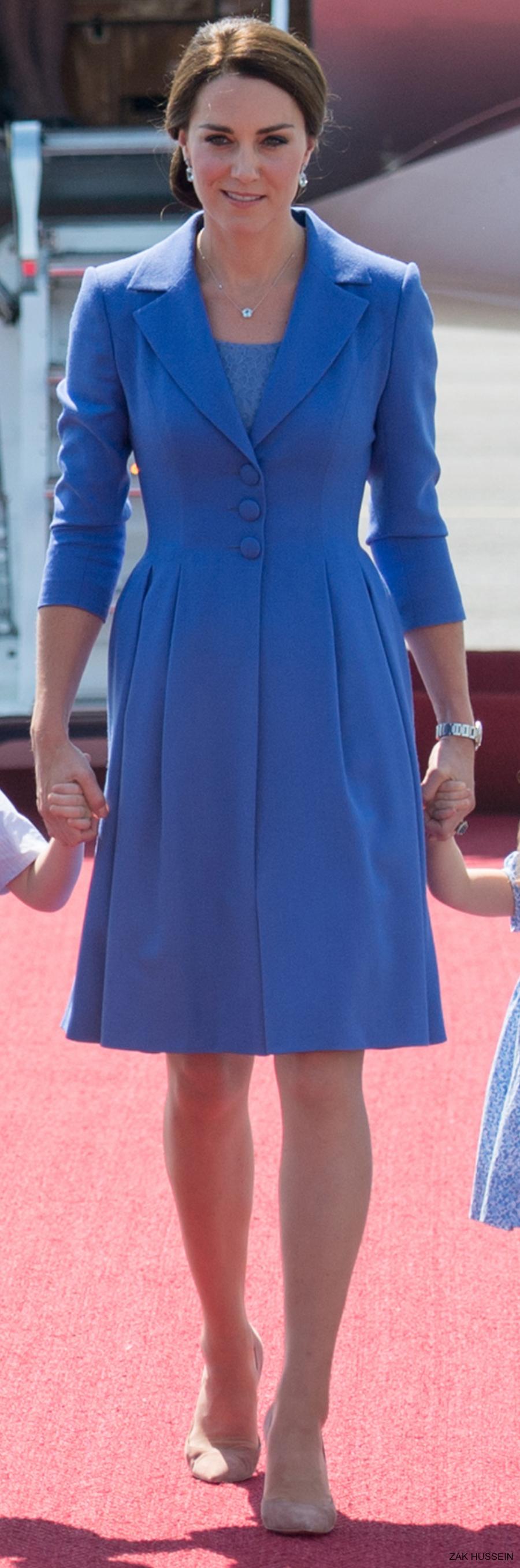 Kate Middleton wearing her cornflower blue Catherine Walker and Co coat in Berlin, Germany