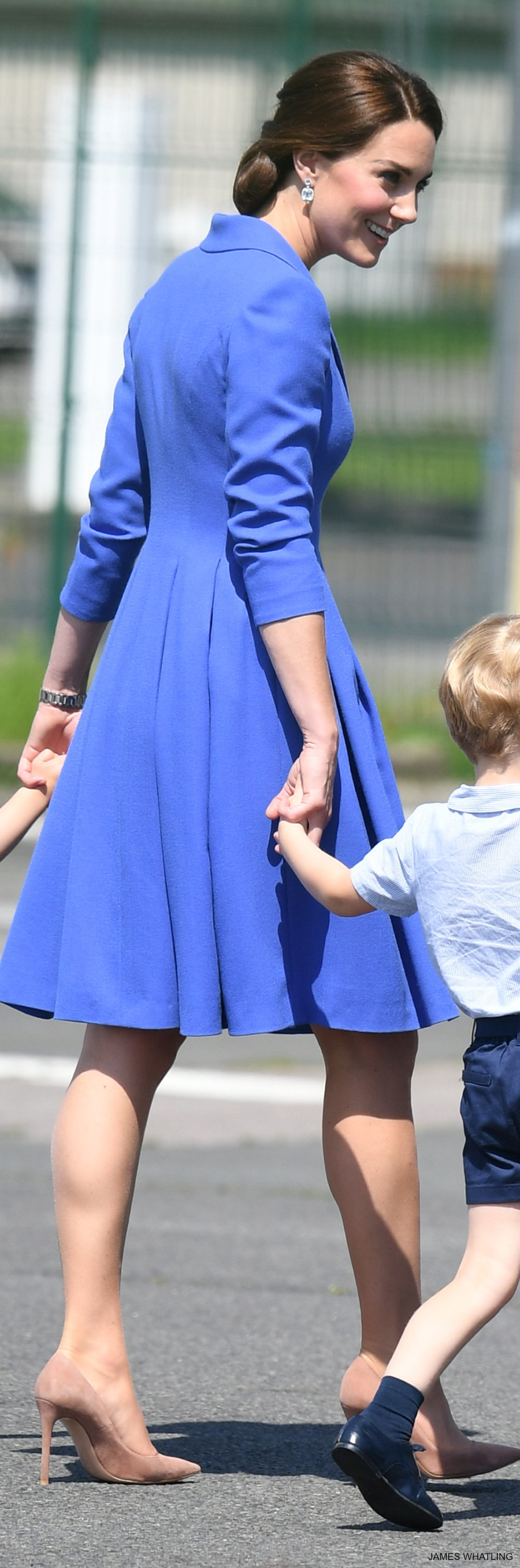 Kate Middleton wearing her cornflower blue Catherine Walker Coat in Berlin, Germany