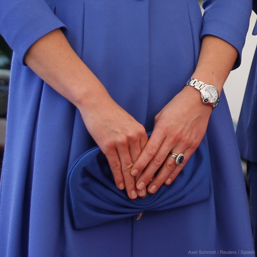 Kate Middleton's blue clutch bag in Berlin, Germany.