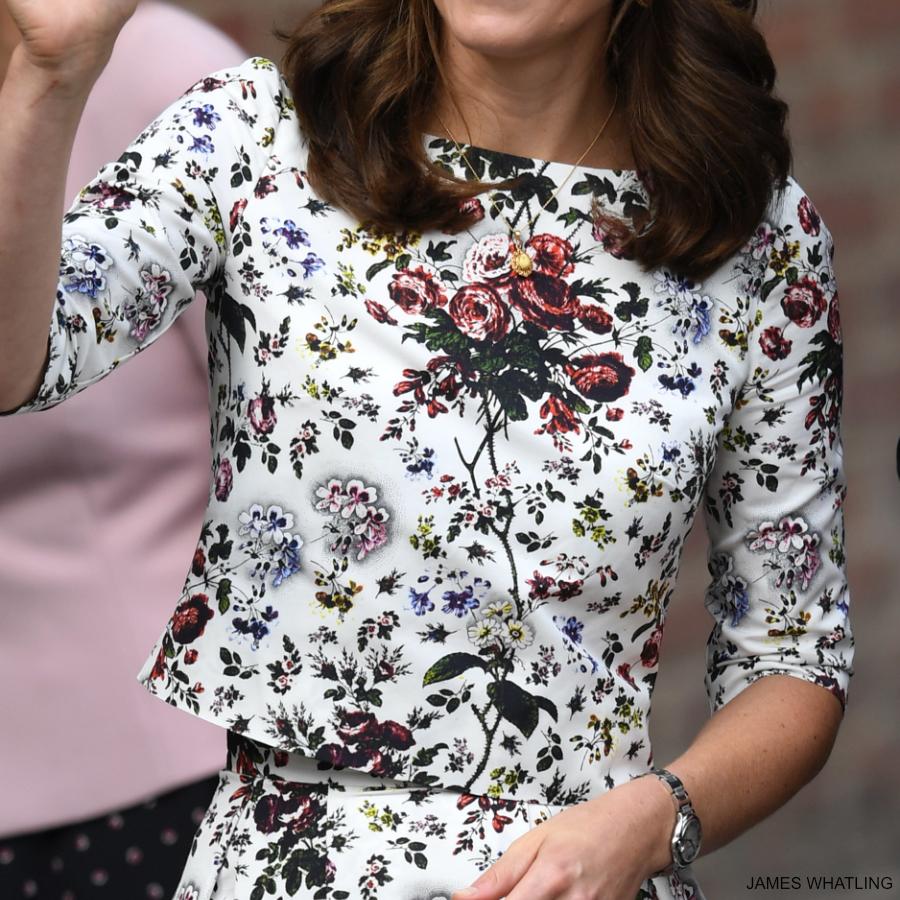 Kate Middleton wearing the Erdem Arleen top in Hurst Rose print