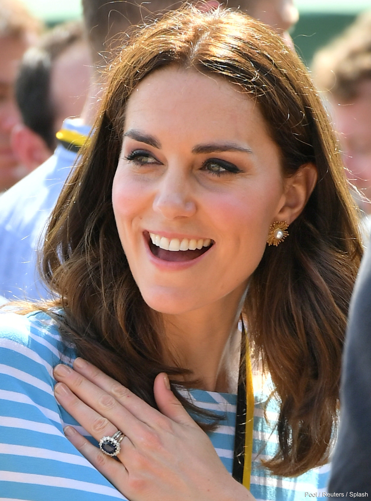 Duchess of Cambridge (Kate Middleton) wearing Oscar de la Renta earrings in Germany
