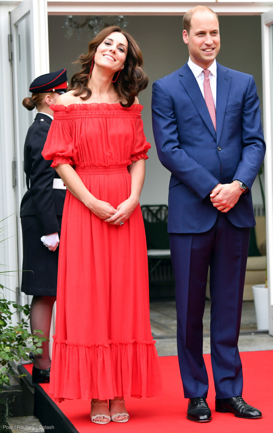 Kate Middleton at the Garden Party in Germany, wearing her red earrings