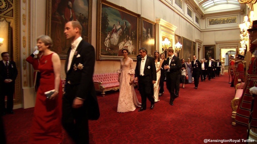 Duchess of Cambridge (Kate Middleton) walking on the way to the State Banquet