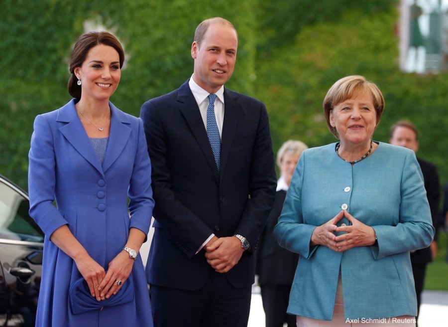 German Chancellor Angela Merkel receives Prince William, the Duke of Cambridge and his wife Catherine, The Duchess of Cambridge, at the Chancellery in Berlin, Germany July 19, 2017.