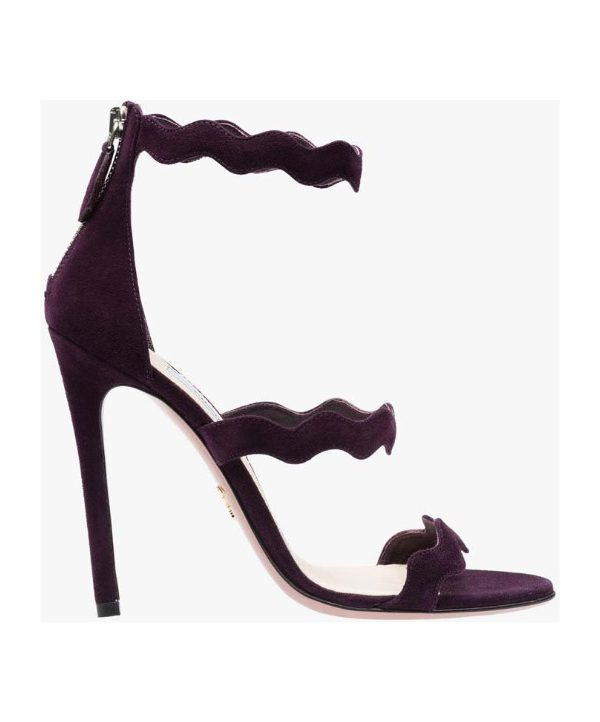 Prada Scalloped Suede Sandals