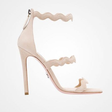 Prada Wavy Scalloped sandals in Quartz Beige
