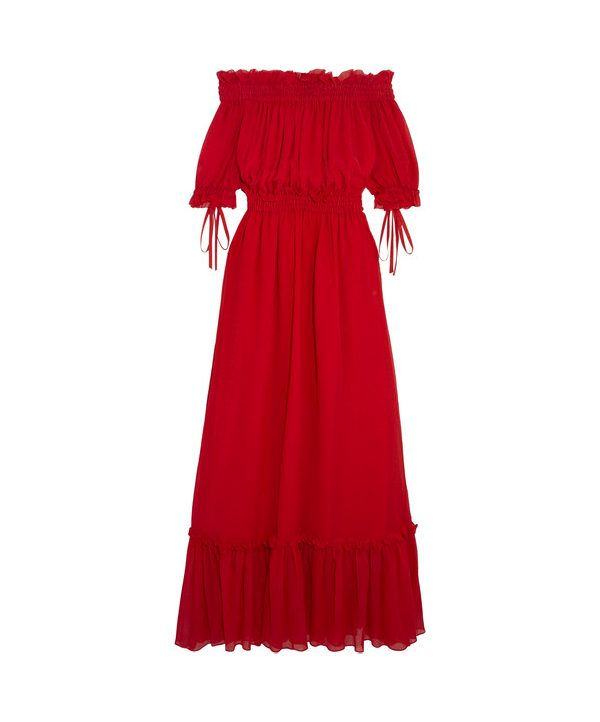 Alexander McQueen Off Shoulder Maxi Dress