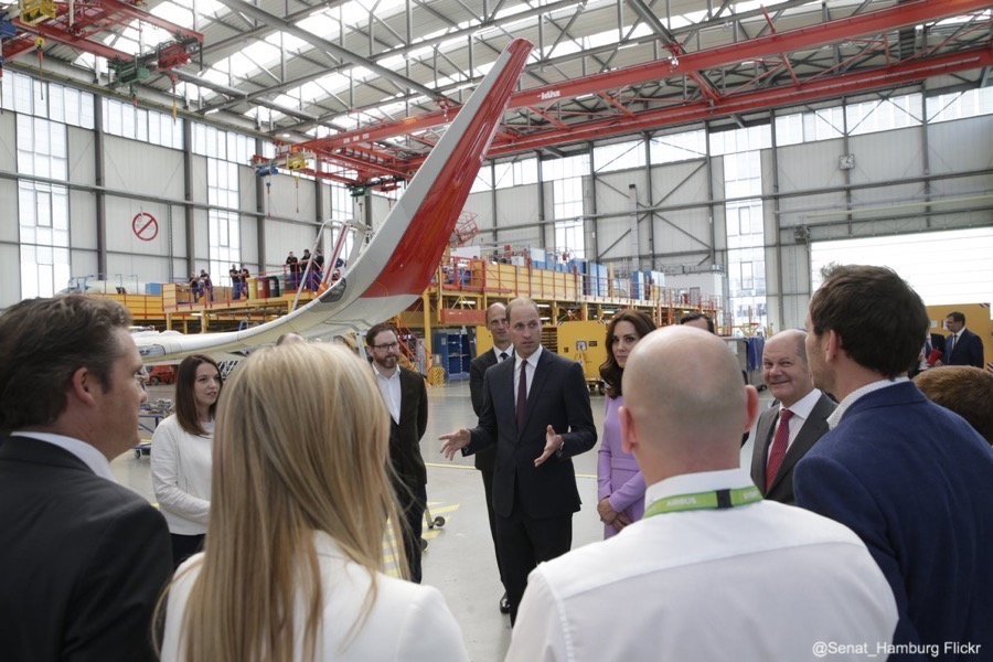 William and Kate at the Airbus headquarters in Hamberg