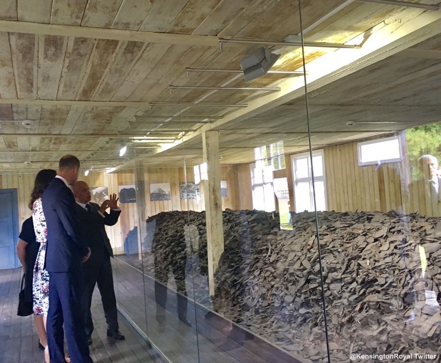 William and Kate looking at exhibits in the concentration camp