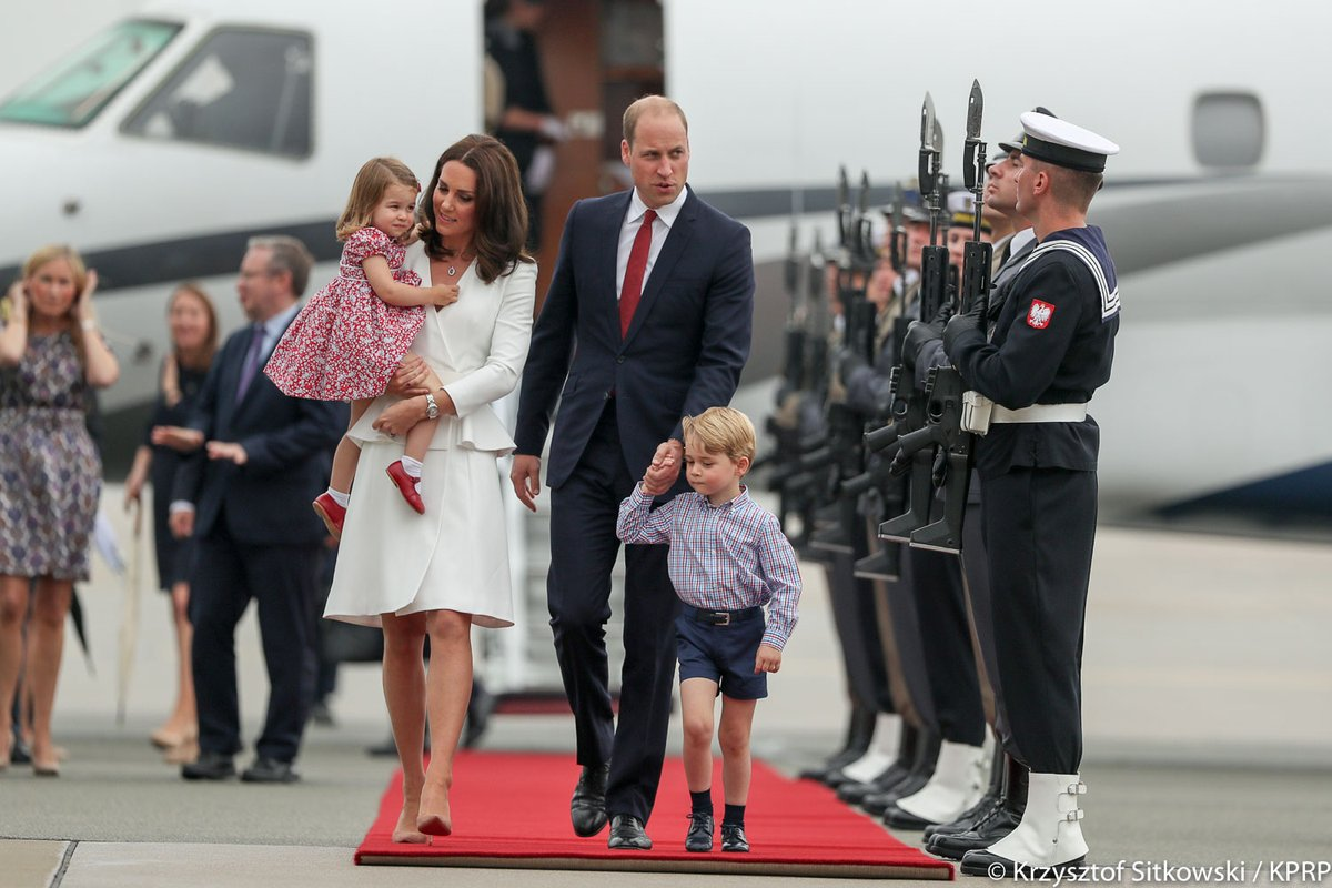 William, Kate, George and Charlotte land in Poland