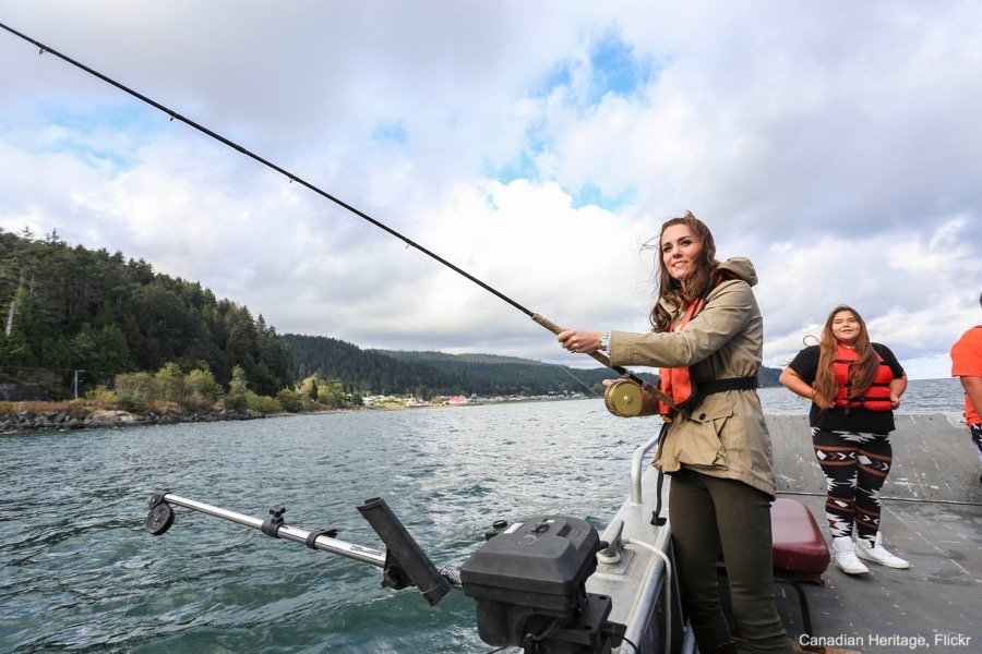 Kate Middleton tries her hand at fishing