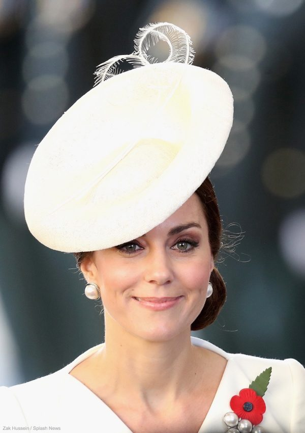 Kate Middleton wearing her Balenciaga pearl earrings in Belgium