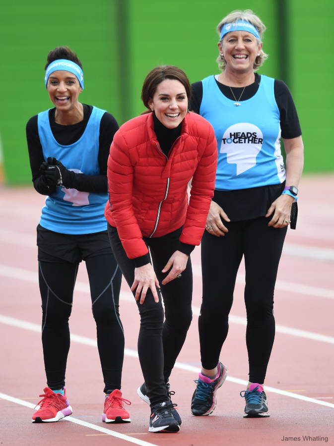Kate Middleton wearing her black Adidas sneakers during a race