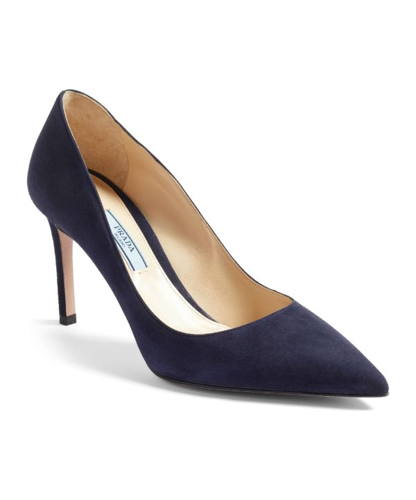 Prada Blue Suede Pointy Toe Pumps