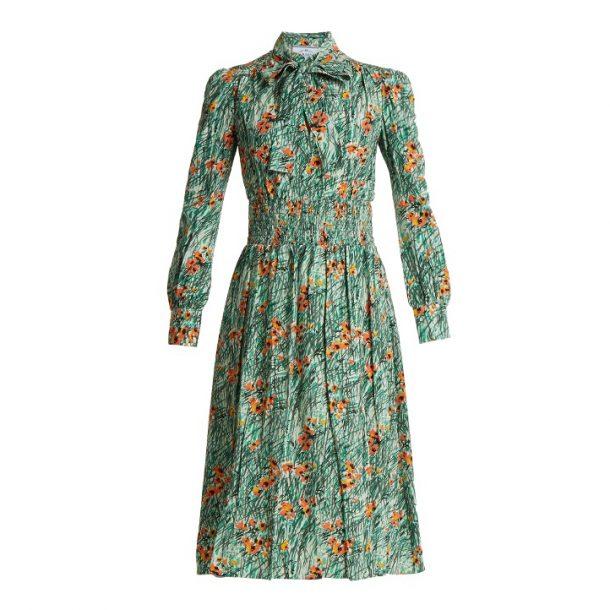 Prada Poppy Print Silk Crepe Dress