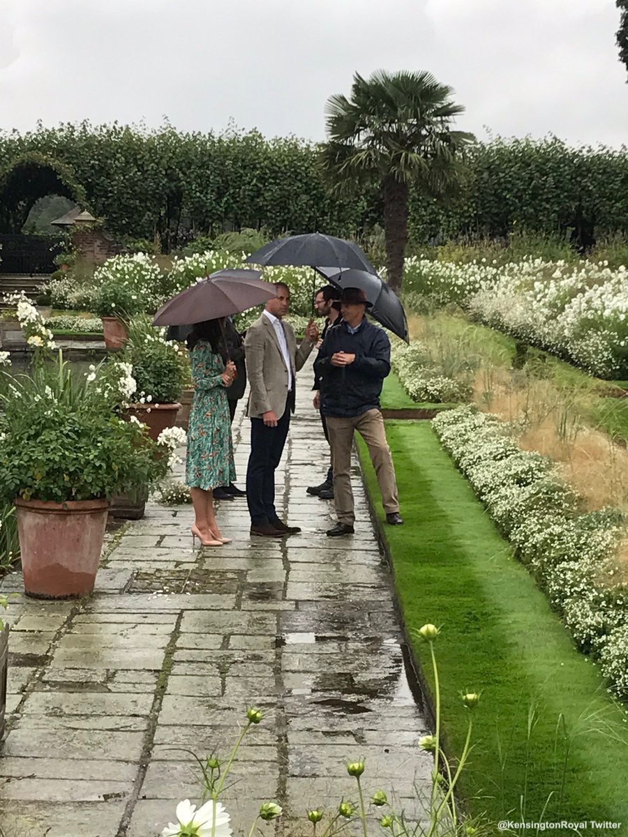 William, Kate and Harry visiting the White Garden at Kensington Palace