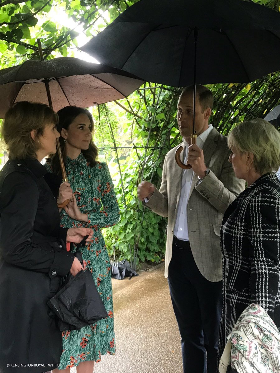 William, Kate and Harry visit the White Garden at Kensington Palace. The White Garden is a memorial garden for Princess Diana.