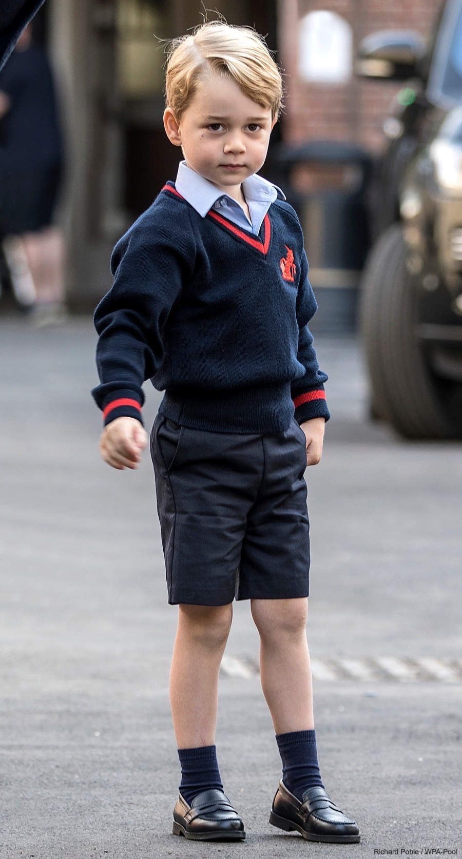 Prince George in his new school uniform