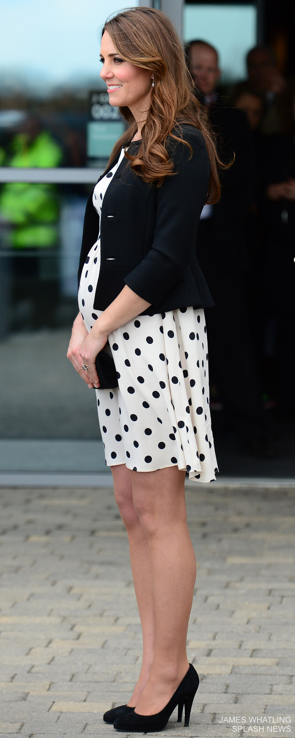Kate Middleton's casual maternity style: the Duchess chose a black and white polka dot topshop dress while pregnant with Prince George