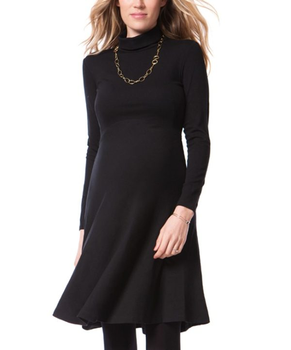 Seraphine Turtleneck Vanessa Maternity Dress in Black