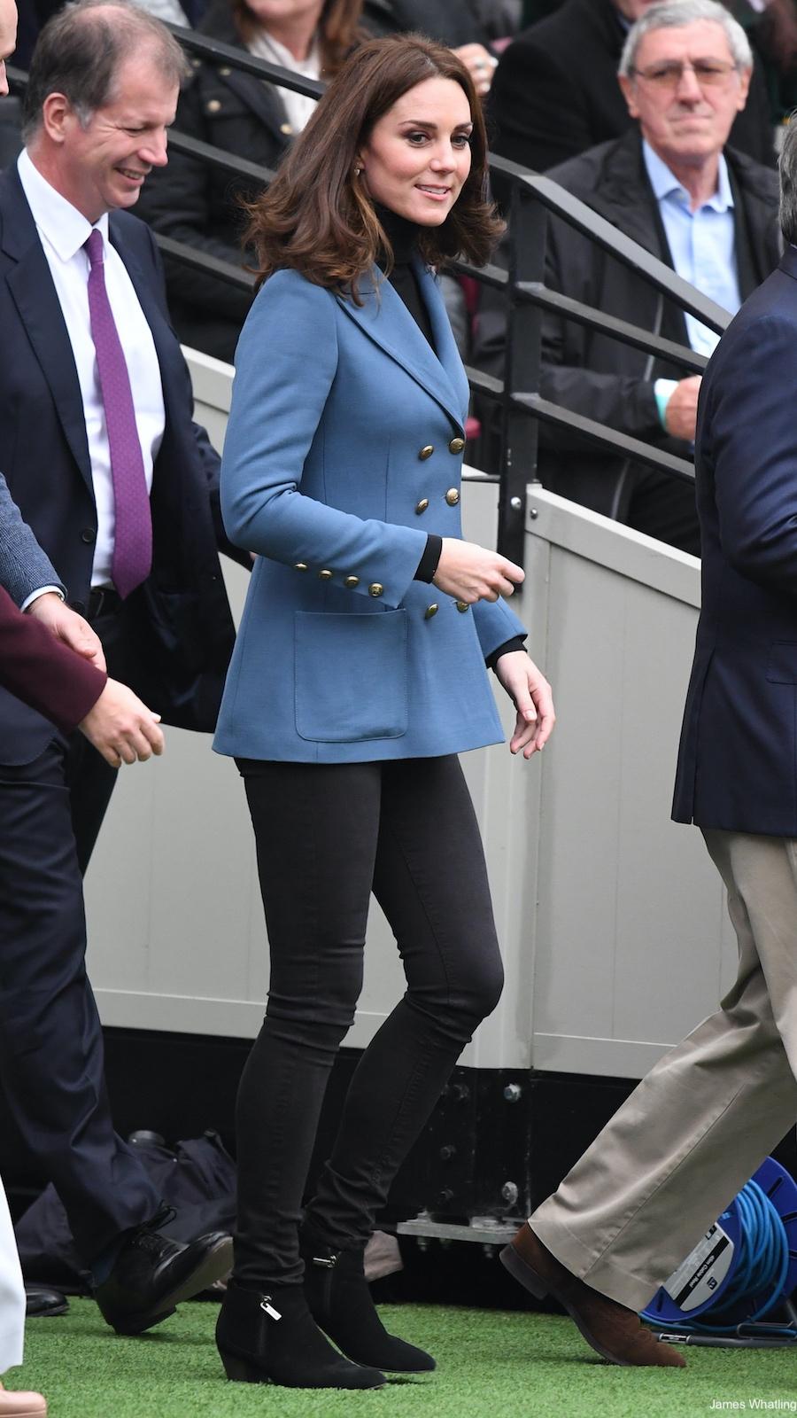 Kate Middleton wearing blue Philosophy jacket in London
