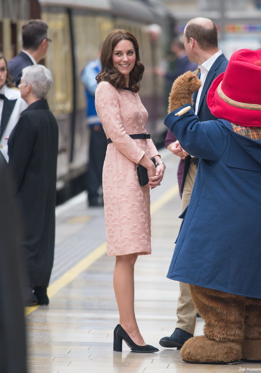 Kate Middleton meets with Paddington Bear at Paddington Station
