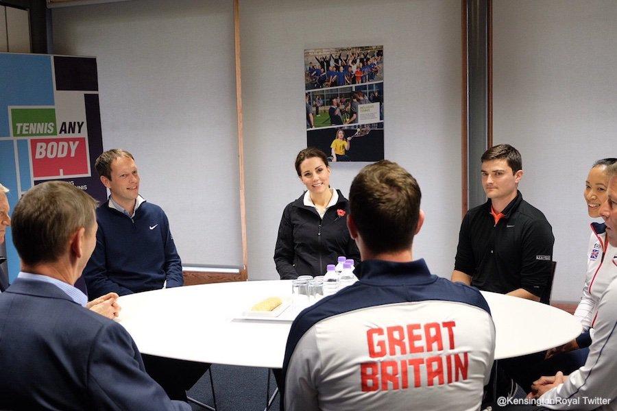 Kate Middleton wears casual sportswear for Lawn Tennis Association visit