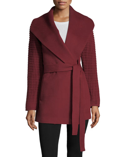 Sentaler wrap coat in ruby