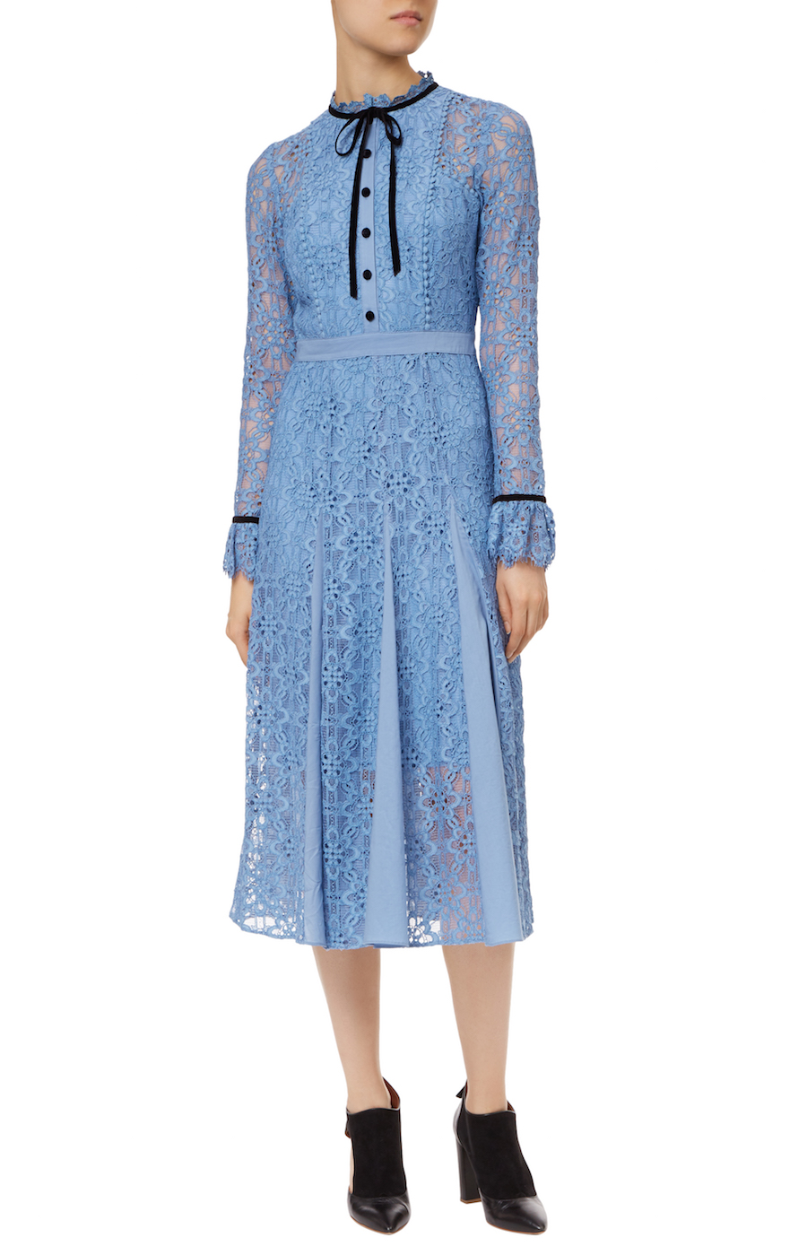 Temperley London IRIS Eclipse Dress in powder blue lace with black trim neck tie