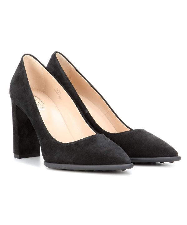 Tod's Black Suede Block Heeled pumps worn by Kate Middleton