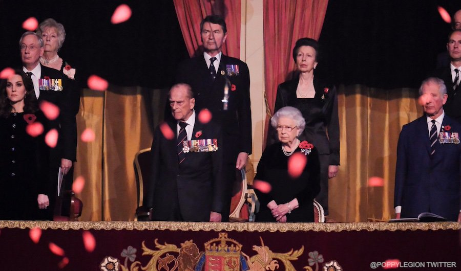 Poppies falling at the 2017 Festival of Remembrance