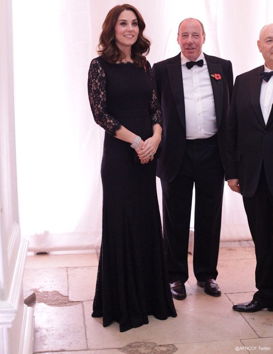Kate Middleton wearing a black lace dress from Diane Von Furstenberg
