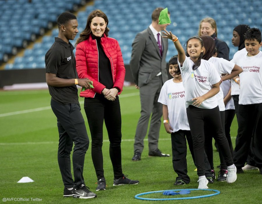 Kate taking part in a coaching session at aston villa football club