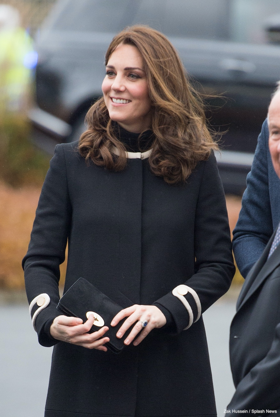 Kate Middleton carrying the Mulberry Bayswater wallet in black suede in Birmingham, England
