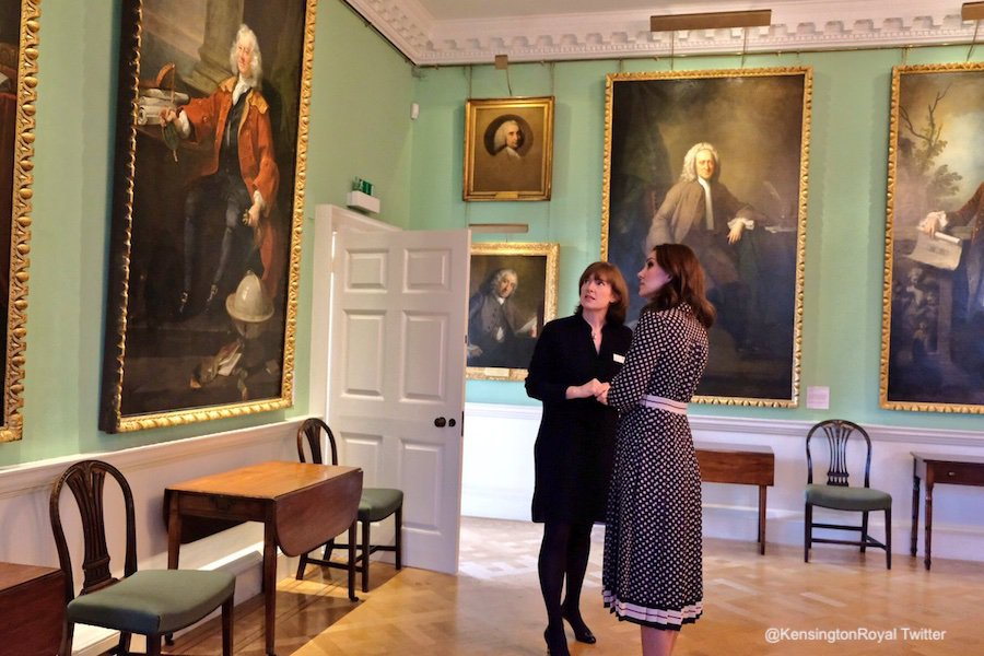 The Duchess of Cambridge (Kate Middleton) viewing artwork at the Foundling Museum