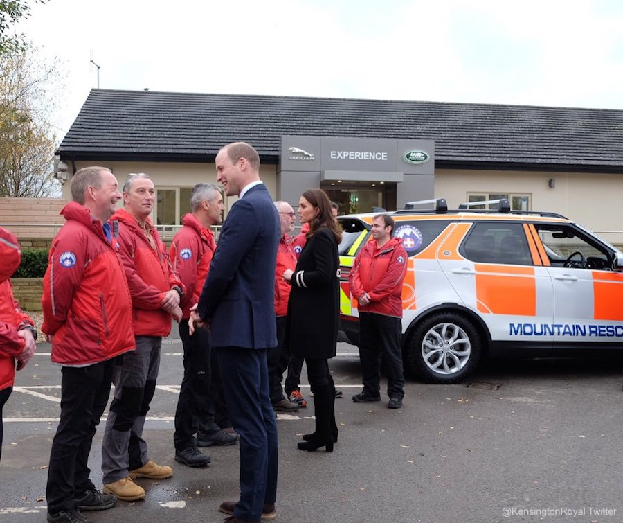 William and Kate meeting with Mountain Rescue Volunteers at Land Rover