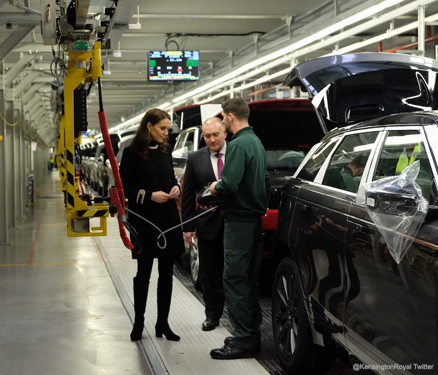 Kate Middleton at the Land Rover assembly line in Solihull, Birmingham