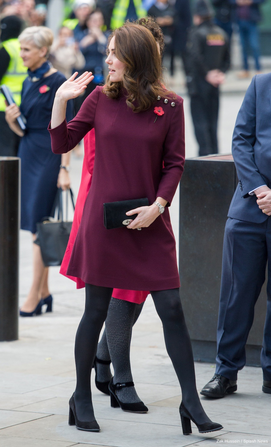 Kate Middleton's outfit at the Place2Be Forum. She chose a plum purple dress by GOAT