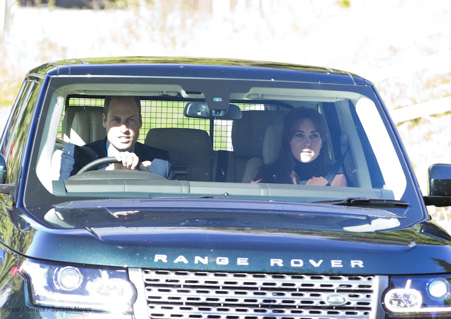 William and Kate driving a Range Rover