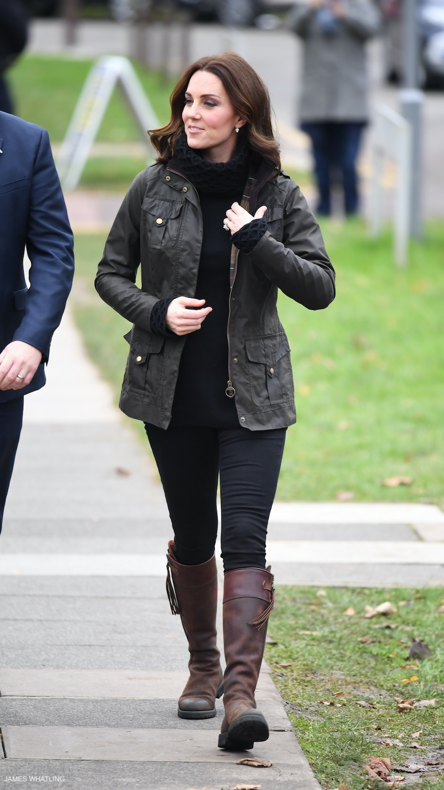 Kate Middleton wearing the Penelope Chilvers boots at Robin Hood School in London