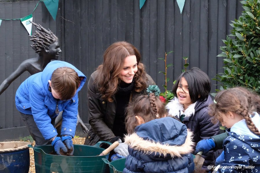 Kate Middleton visits Robin Hood Primary School to mark ten years of the RHS's Gardening in Schools Campaign