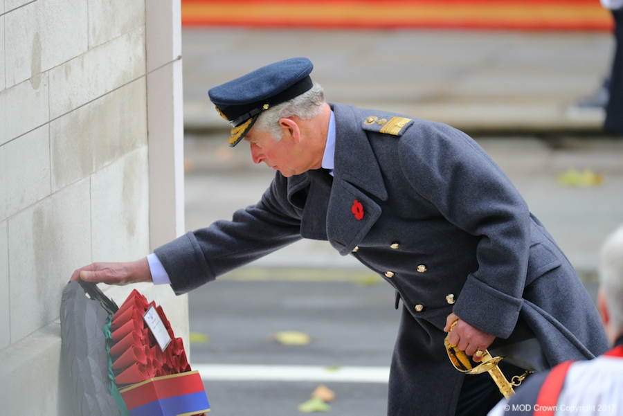 Prince Charles laying a wreath at the Cenotaph on behalf of the Queen