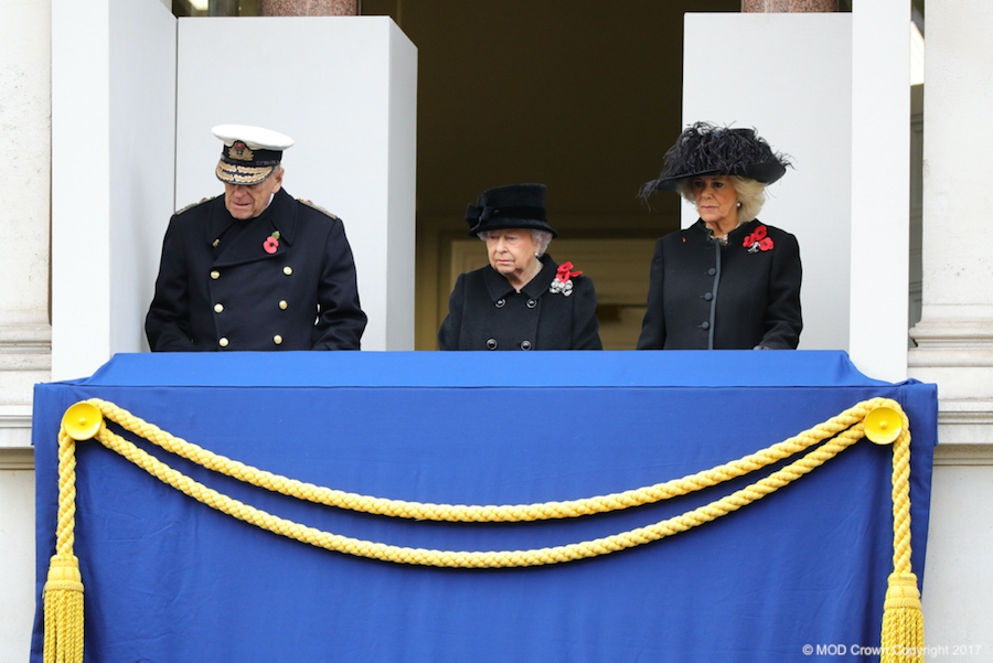 The Queen & Prince Philip on the Balcony of the Foreign Office, overlooking the National Service of Remembrance