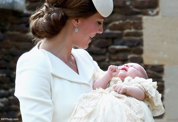 Kate Middleton wearing the Empress earrings during Princess Charlotte's christening