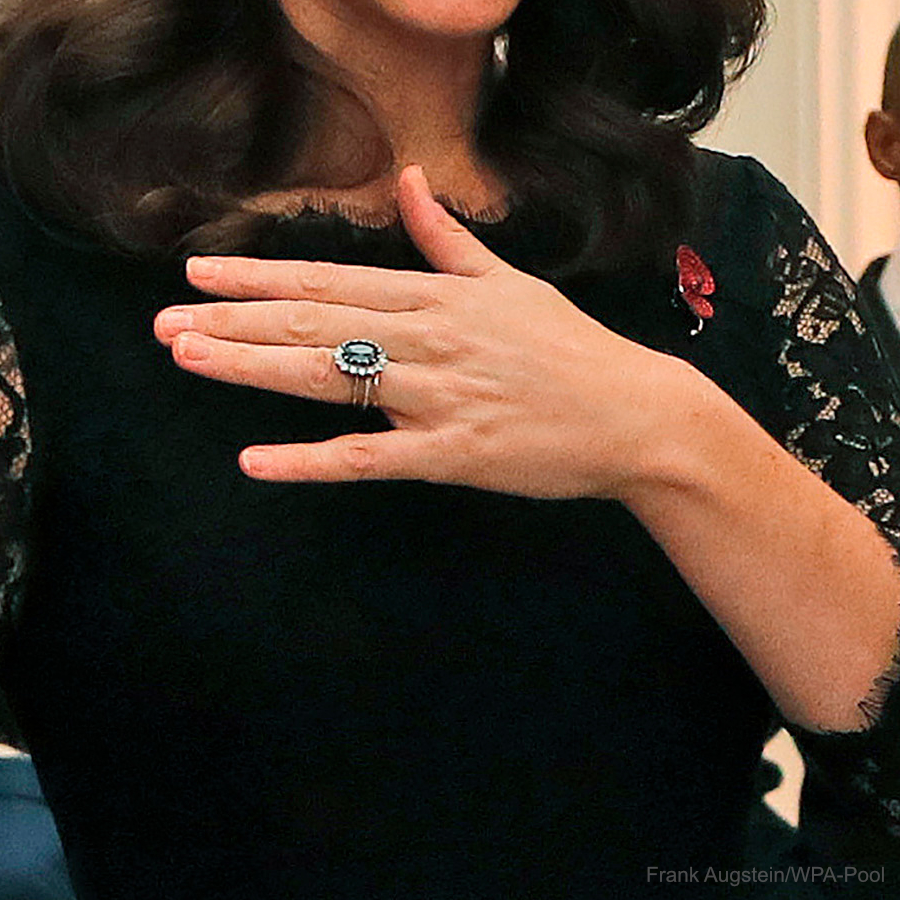 Kate Middleton's diamond engagement ring and poppy