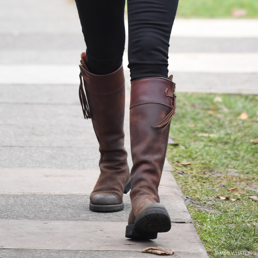 Kate Middleton wore brown boots by Penelope Chilvers for the school visit