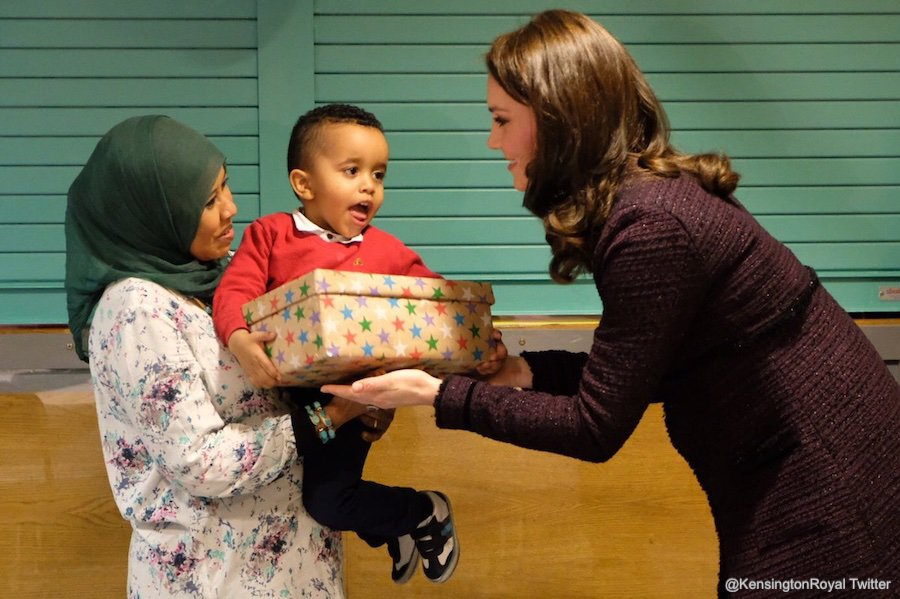 Kate Middleton giving gifts at the Rugby Portobello Trust