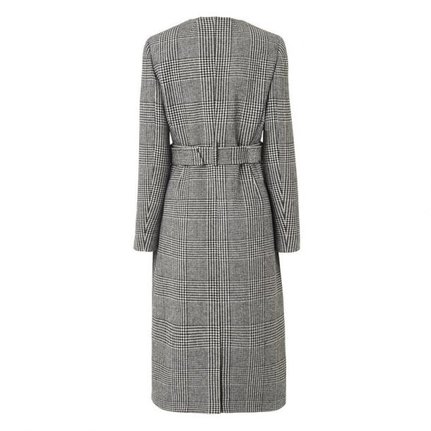 L.K. Bennett Delli Check Coat in Grey, worn by Kate Middleton in Manchester in December 2017
